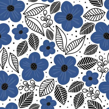 blue flowers black linear leaves spring summer fresh botanical textured seamless pattern on white background