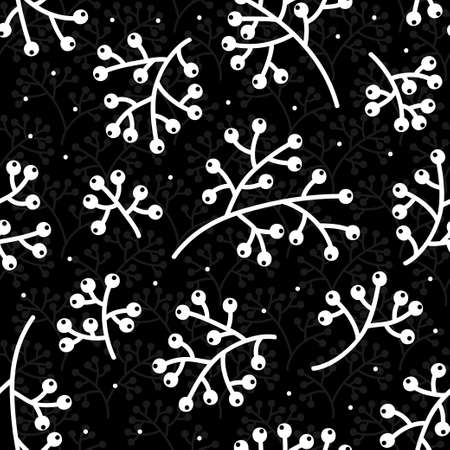 rowanberry cranberry branches monochrome black and white handdrawn autumn fall graphic botanical seamless pattern isolated on black dotted background
