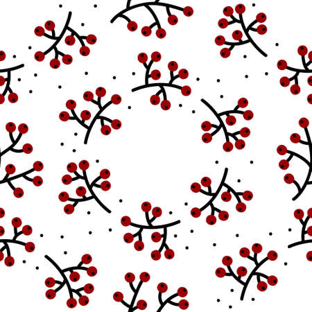 rowanberry cranberry wreath handdrawn autumn fall graphic botanical seamless pattern isolated on white background Ilustração