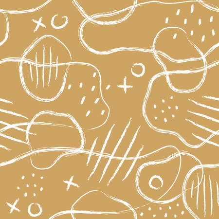 Abstract monochrome seamless pattern with linear shapes and sketch elements. Minimalistic styles. Vector illustration. White and Ocher. Color background.