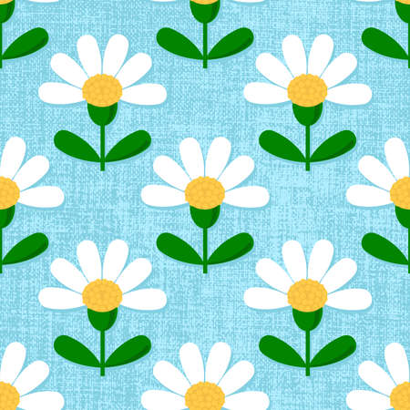 Flat daisy seamless pattern. Repeatable vector background with chamomile flowers on baby blue textured background.