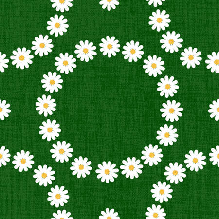 Flat daisy seamless pattern. Repeatable vector background with chamomile flower wreaths on dark green textured background.