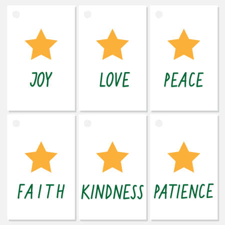 joy love peace faith kindness patience Christmas flat winter geometric seasonal vector illustration gift card template