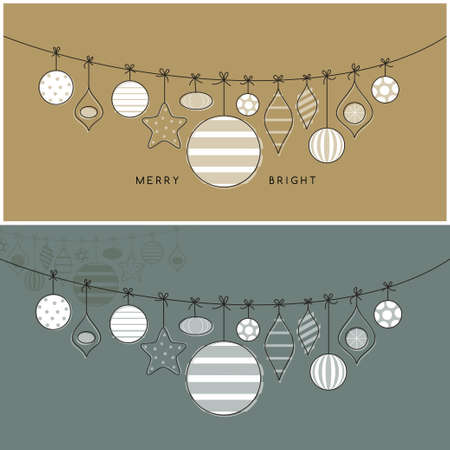 hand drawn sketchy style glass balls garland colorful festive winter holiday decorative greeting card set with centerpiece illustrations with Christmas wishes