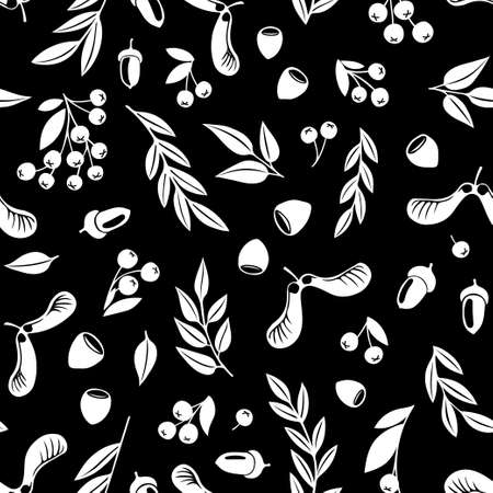 Monochrome hazelnut rowan berry maple oak tree seeds fruits and leaves seamless pattern. Repeatable vector background with white silhouette retro style flat autumn botanical shapes on dark background.