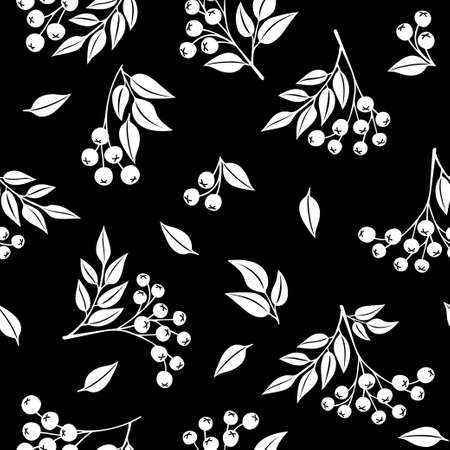 Monochrome rowan berry tree fruits and leaves seamless pattern. Repeatable vector background with white silhouette retro style flat autumn botanical shapes on dark background.
