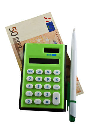 Photo of a banknote with the calculator and a marker photo