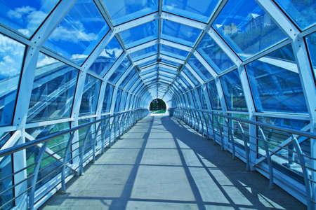 elevated walkway: Crosswalk photo over the highway in the city of Belgorod