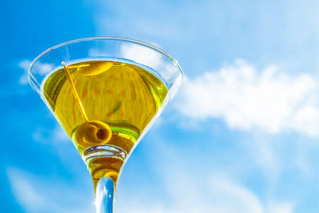 Martini glass photo against the sky