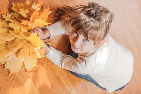 Photo of the little girl with maple autumn leaves