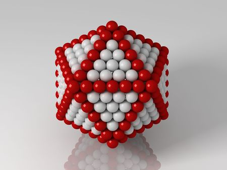 icosahedron: 3d generated illustration of icosahedron builded with red and white balls Stock Photo