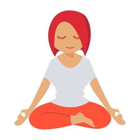 lotus pose: Girl meditating in lotus pose