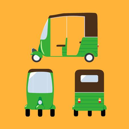 flat illustration with auto rickshaw