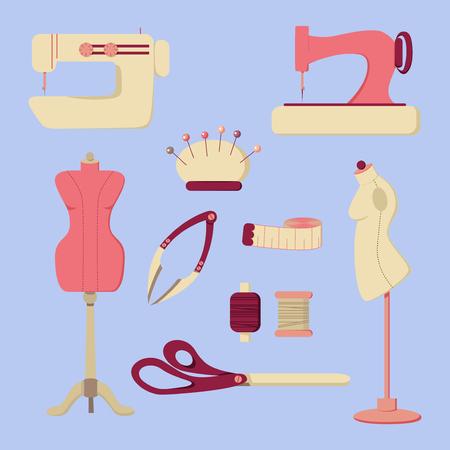 bar tool set: Sewing Tool and Needlework Icons Set