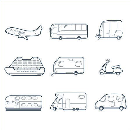 liner transportation: Transportation Collection with Airplane, Bus, Scooter, Liner, Trailer, Tuk-tuk, Express Train, Caravan and Car