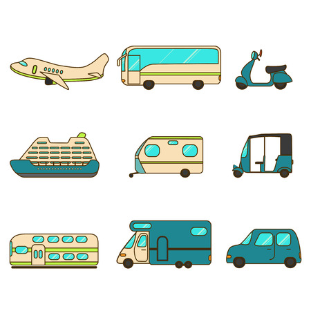 liner transportation: Transportation Collection with Airplane, Bus, Scooter, Liner, Trailer, Tuk-tuk, Express Train, Caravan and Car. Illustration