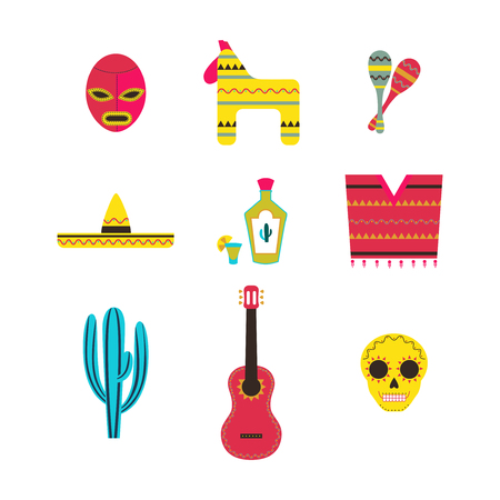 pinata: Set of Mexico Icons Illustration  Mexican Theme Flat Icon Collection Illustration