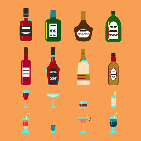 ajenjo: Alcohol flat Icons Set with Bottles and Cocktail Glasses Isolated Illustration Vectores