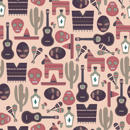 pinata: Mexico Seamless Pattern Illustration