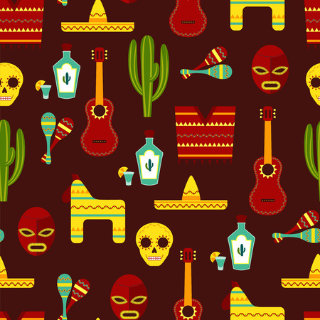 Seamless Background with Mexican Elements