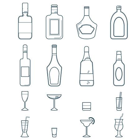ajenjo: Bebidas Alcohólicas y bebidas Icon Set Vectores