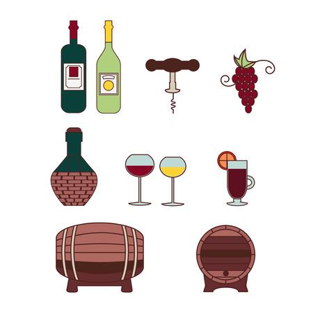 Reihe von farbigen Icons mit Bezug zu Wein