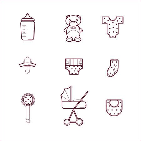 bootees: Newborn Baby Collection with Cute Icons. Illustration