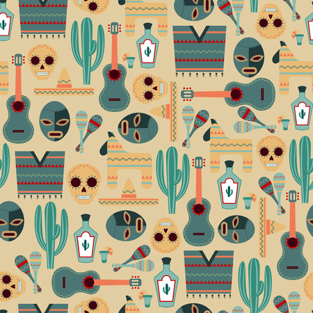 mexican background: Seamless Background with Mexican Elements