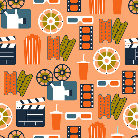 Seamless Pattern of Movie Elements and Cinema Icons  Cinema Seamless Pattern
