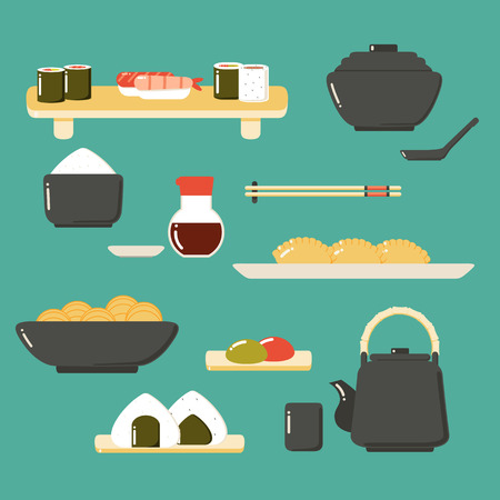 Set of Cute Icon Collection with Japanese Food.