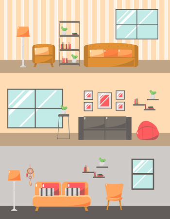 living rooms: Furniture Set for Living Rooms. Flat Vector Illustration.Icons for Living Room. Flat Vector Illustration