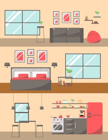 interiors: Set of Colorful Room Interiors with Furniture Icons: Living Room, Bedroom, Kitchen.