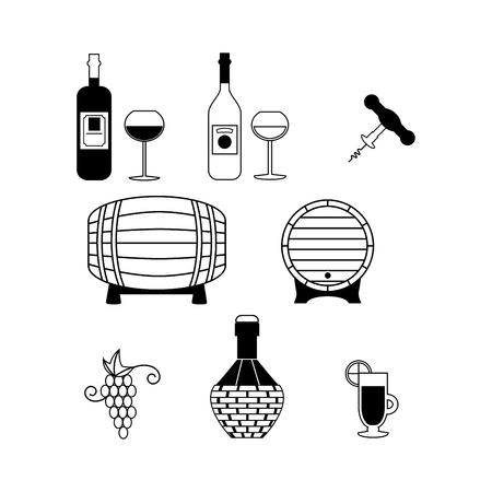 Set of Vector Icons Related to Wine Illustration