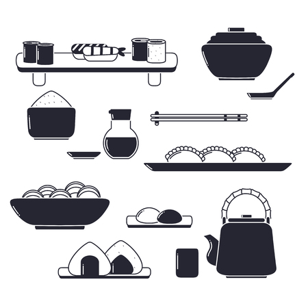 Set of Cute Icon Collection with Japanese Food. Vektorové ilustrace