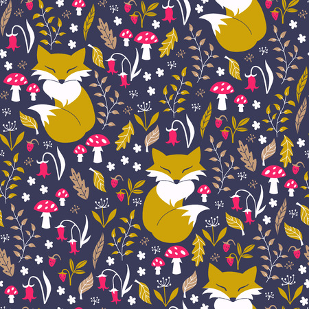 autumn background: Fox in Autumn Forest. Vector Illustration.