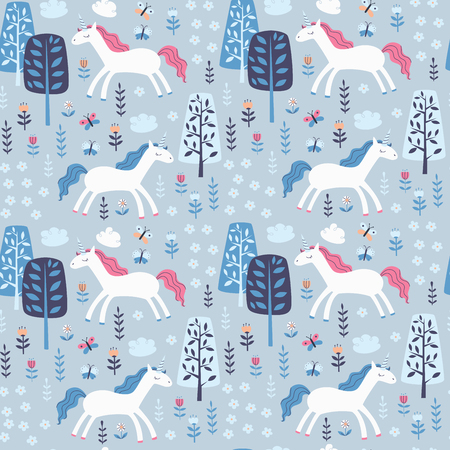 Repeating Pattern with Unicorns, Trees and Flowers. Ilustração