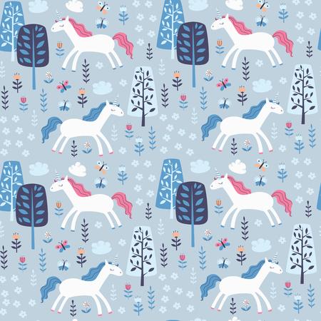 Repitiendo el patrón con unicornios, árboles y flores.
