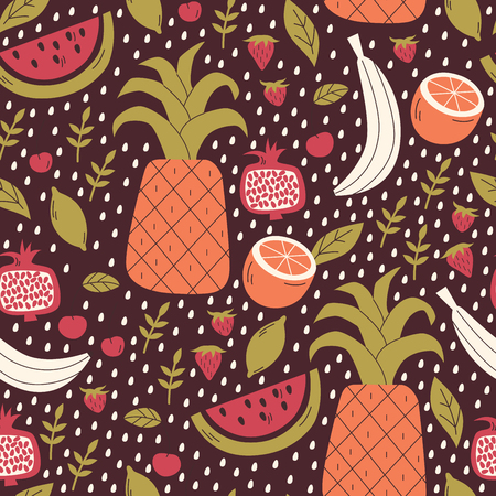 Seamless Pattern with Doodle Fruits and Berries.