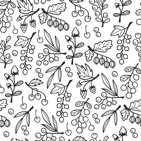 Seamless Pattern with Berries on Branches.  イラスト・ベクター素材
