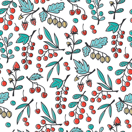Pattern with Hand Drawn Berries