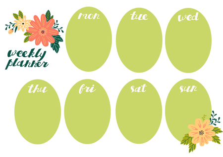 Weekly planner with flowers, stationery organizer for daily plans. Illustration