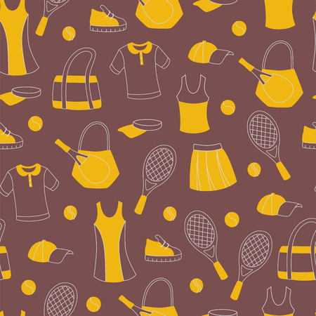 Pattern with Tennis Equipment for wallpaper