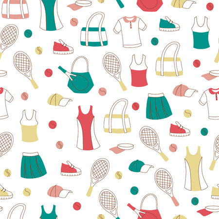 Seamless Pattern with Tennis Equipment on White Background.