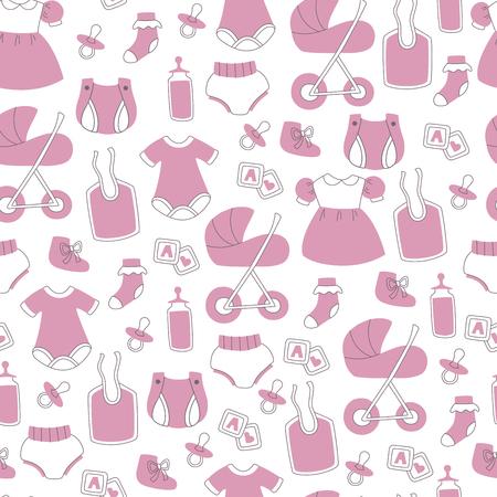 Newborn Baby Vector Seamless Background. Vector Doodle Elements. Stock Illustratie