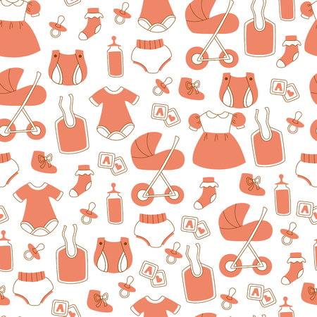 Hand Drawn Seamless Baby Pattern with Toys, Clothes, Stroller and etc.