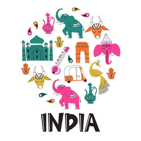 Hand Drawn Set of Indian Doodle Symbols Isolated on White.