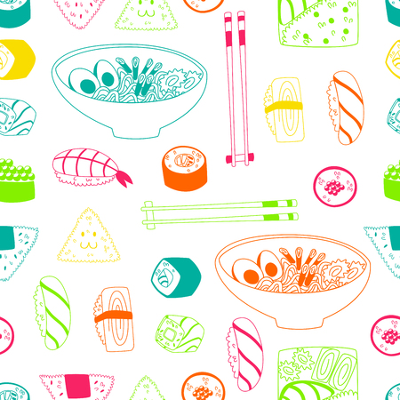 Asian Kitchen Pattern with Hand Drawn Doodle Food Elements