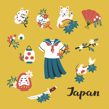 Japan Colored Doodle Sketch Elements Set: School Uniform, Katana, Koi, Lucky Cat and Paper Lantern.