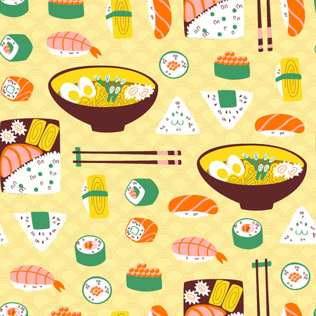 Cute Seamless Pattern with Sushi, Onigiri and Noodle. Vektorové ilustrace