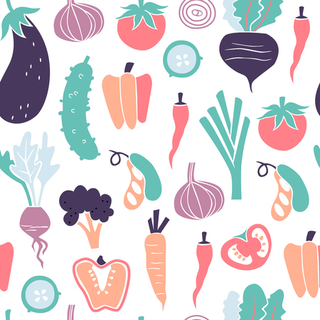 Seamless Pattern with Healthy Food. Hand Drawn Doodle Vegetables Background.
